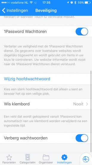 1Password met de Wachttoren-functie.
