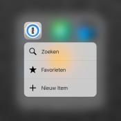 1Password met 3D Touch op het appicoon.
