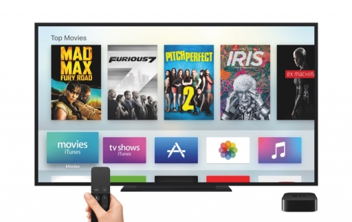 Apple TV met Apple TV Remote en tvOS.