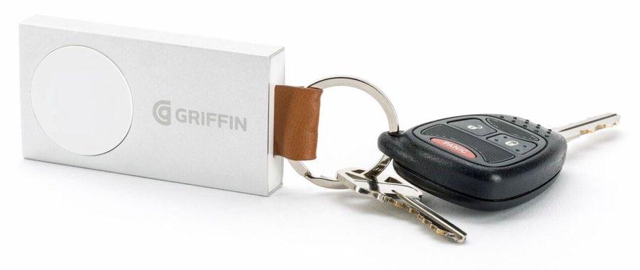 Griffin reservebatterij aan een sleutelbos