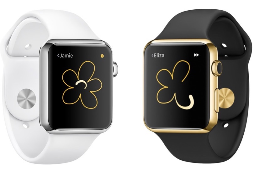 Digital Touch op de Apple Watch met bloem.