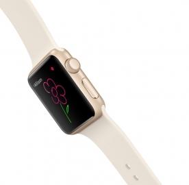 Digital Touch op de Apple Watch met gekleurde bloem.