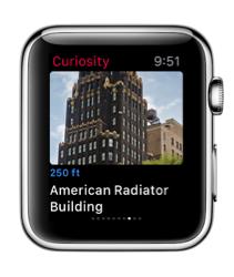 Curiosity voor de Apple Watch met gebouw.