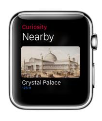 Curiosity voor de Apple Watch met locaties dichtbij.