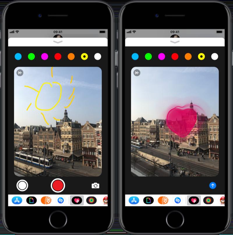 Tekenen op een foto met Digital Touch op de iPhone.