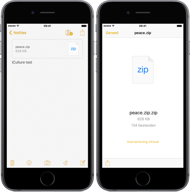 ZIP bestand openen in Notitie app.