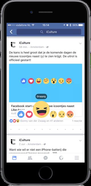 Facebook reactie met lachende emoji.