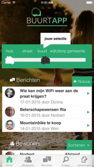 BuurtApp toont berichten en bewoners op buurtniveau.