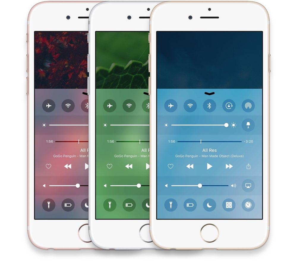 Bedieningspaneel concept iOS 10