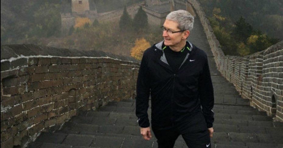 Tim Cook op de Chinese Muur