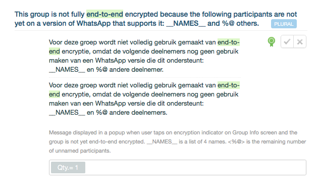 WhatsApp-vertaling voor end-to-end-encryptie.