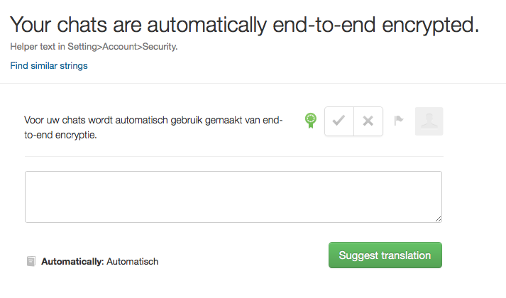 WhatsApp vertaling voor end-to-end-encryptie.