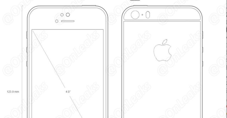 Ontwerptekeningen van de iPhone 5se.