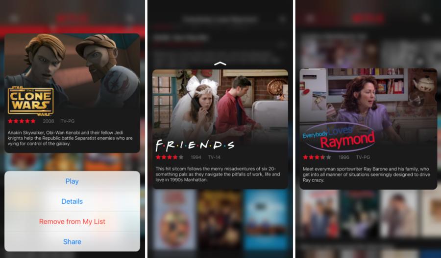 De Netflix-app ondersteunt nu 3D Touch na een grote update.