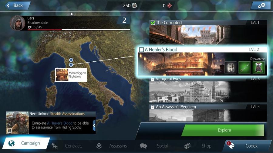 Kies verschillende missies uit op een wereldkaart.