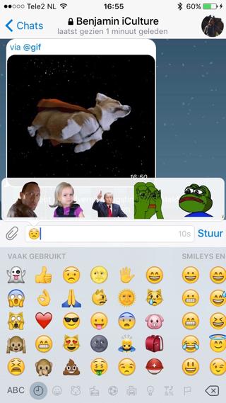 Stickers zijn direct gekoppeld aan Emoji op Telegram.