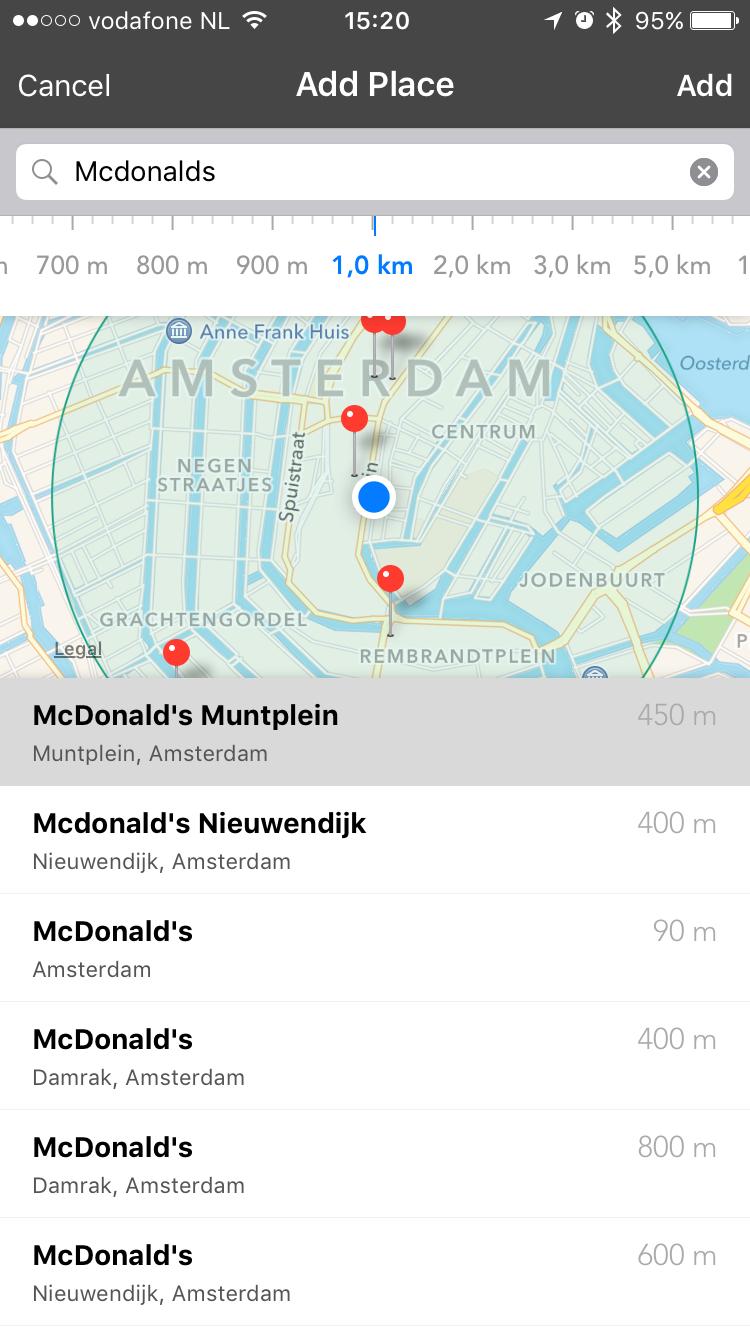 Zoek locaties binnen een bepaalde straal in Placeboard.