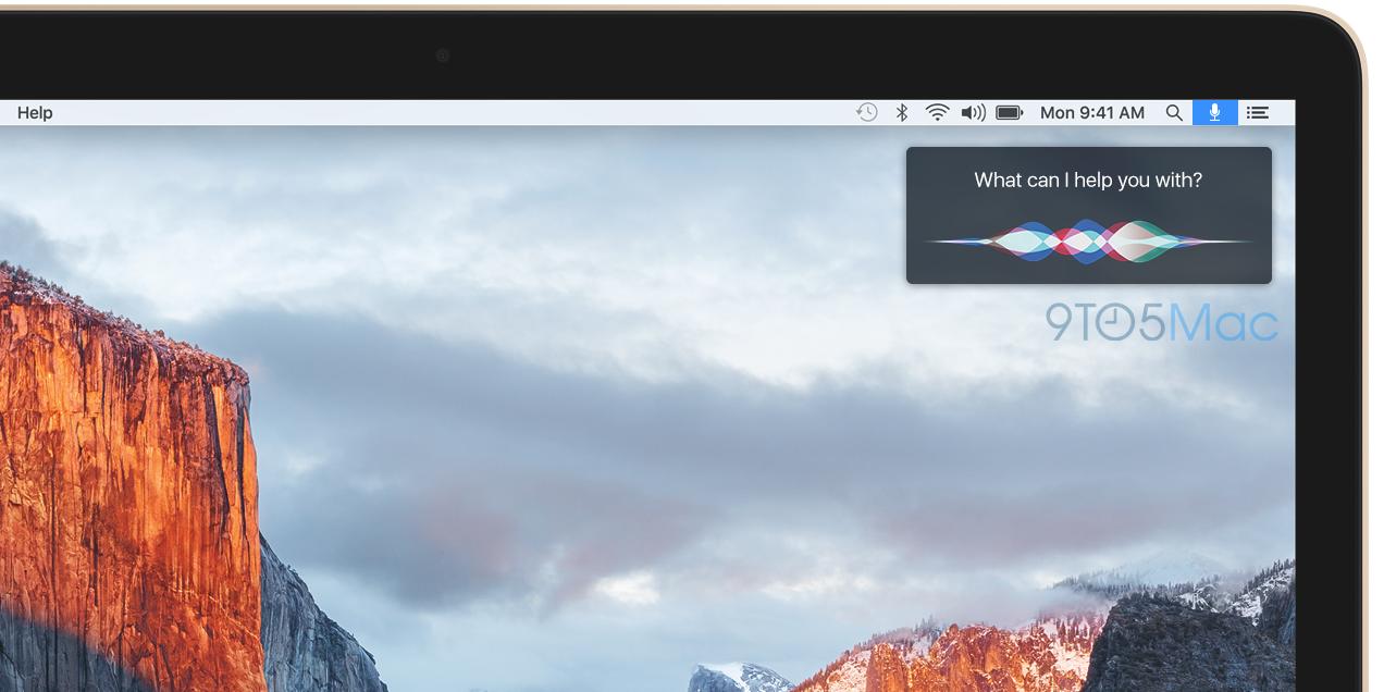 Siri mockup op de Mac door 9to5Mac voor OS X 10.12.