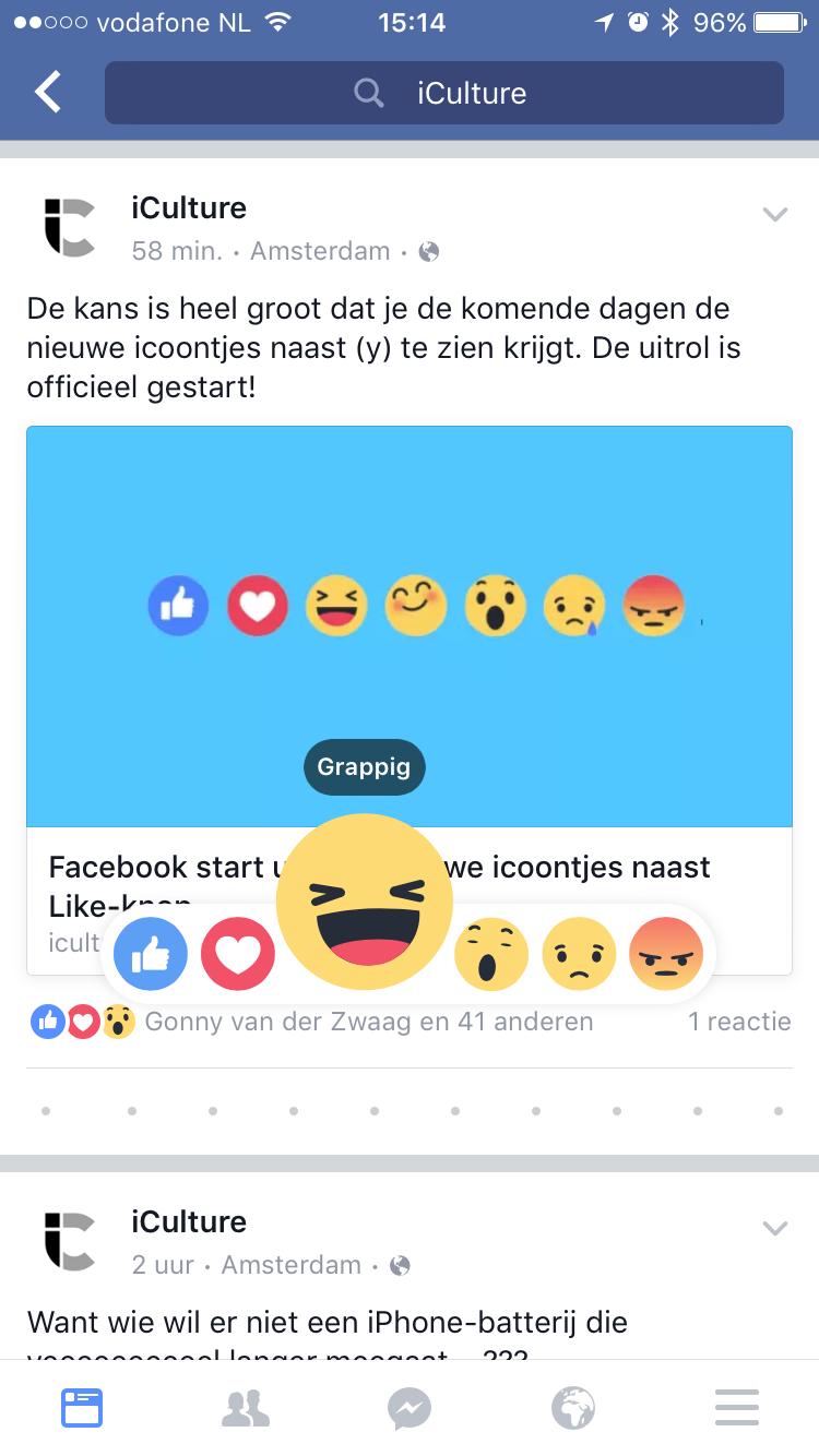 Grappige Facebook reactie-emoji bij een bericht van iCulture.