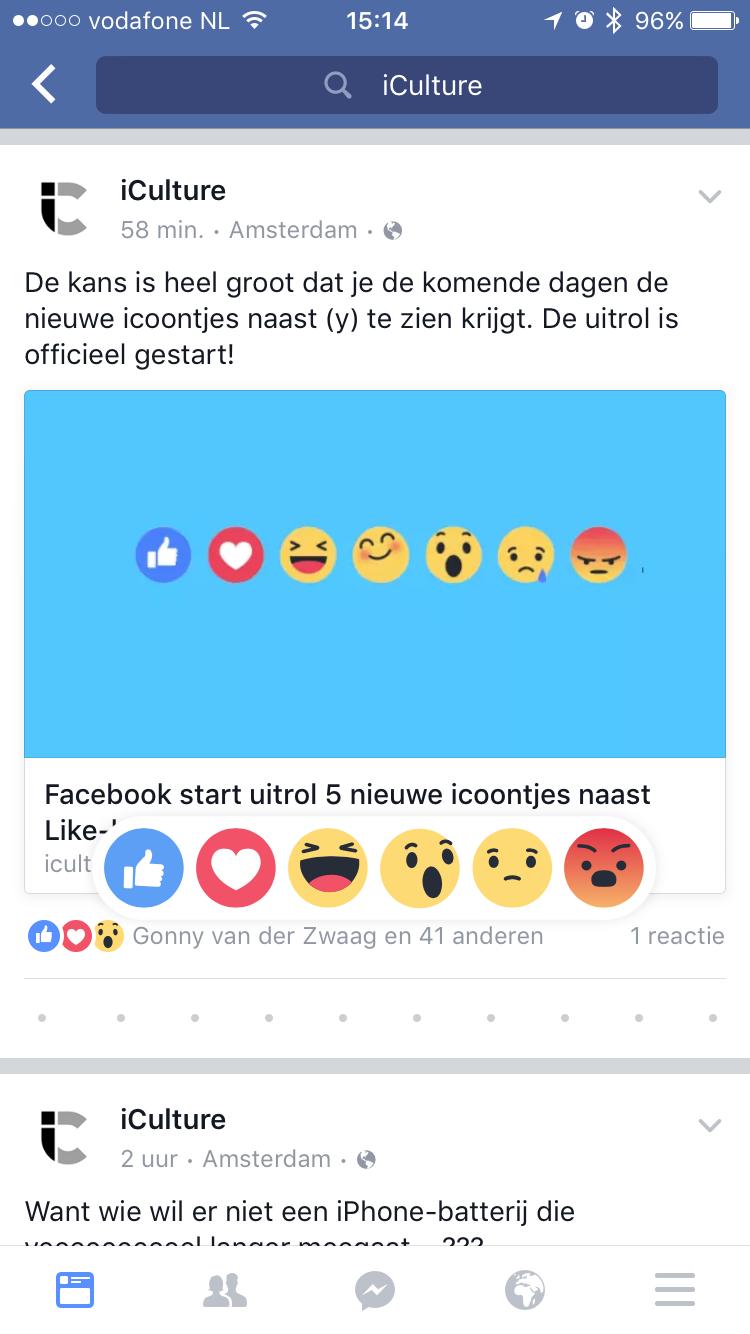 Nieuwe Facebook reactie-emoji bij een bericht van iCulture.