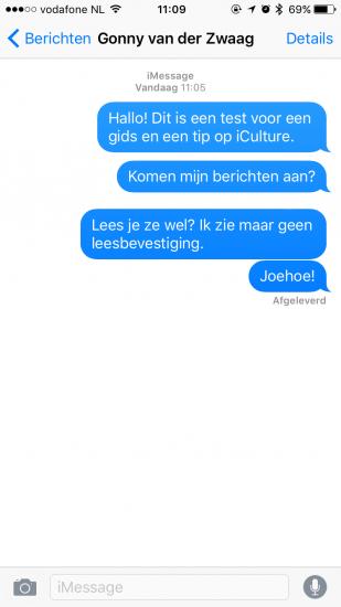 iMessage-gesprek met afgeleverde berichten.