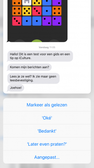 3D Touch op een iMessage-gesprek om te voorkomen dat je een leesbevestiging stuurt.