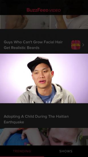 Buzzfeed Video met een lopende videostream.