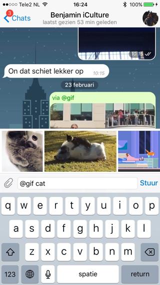 GIF-bestanden versturen in Telegram gaat heel gemakkelijk.