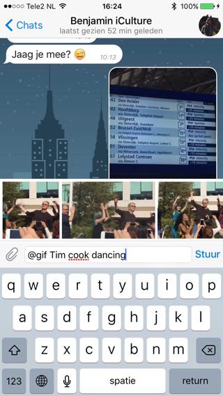 Zoek een GIF op met gif gevolgd door een zoekwoord.