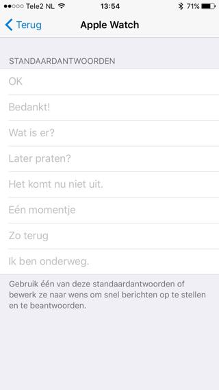 Verander handmatig de standaardantwoorden die je met de Apple Watch-app verstuurt.