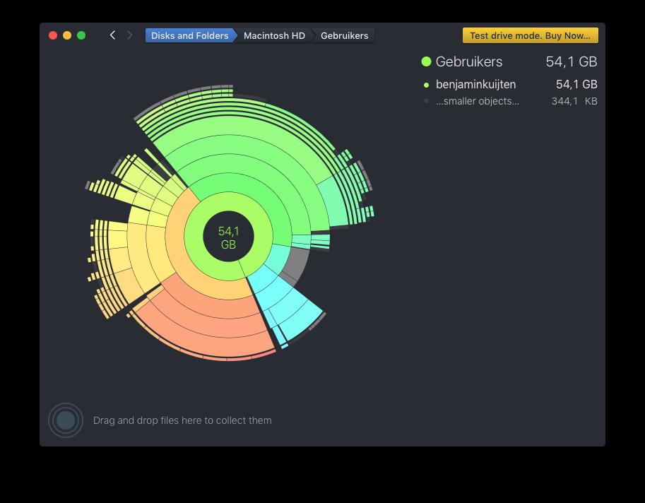 DaisyDisk verdeelt verschillende onderdelen in kleuren.