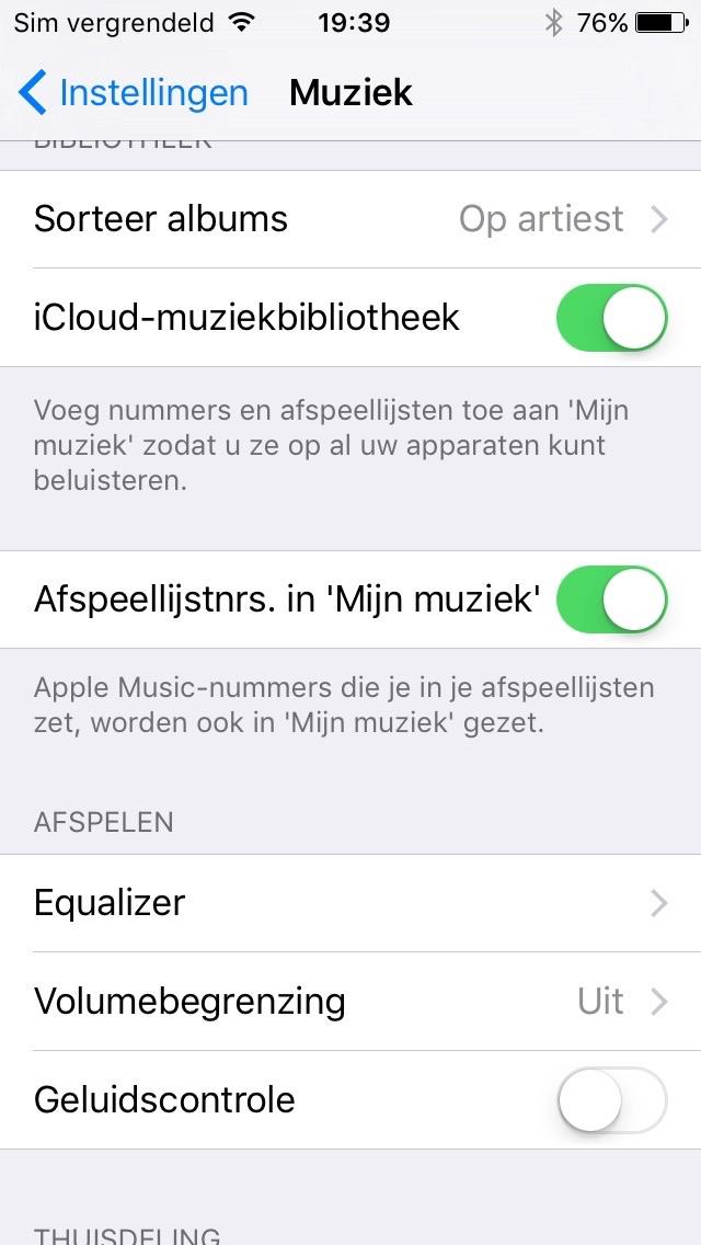 Afspeellijstnummers al dan niet toevoegen aan Mijn Muziek in iOS 9.3.