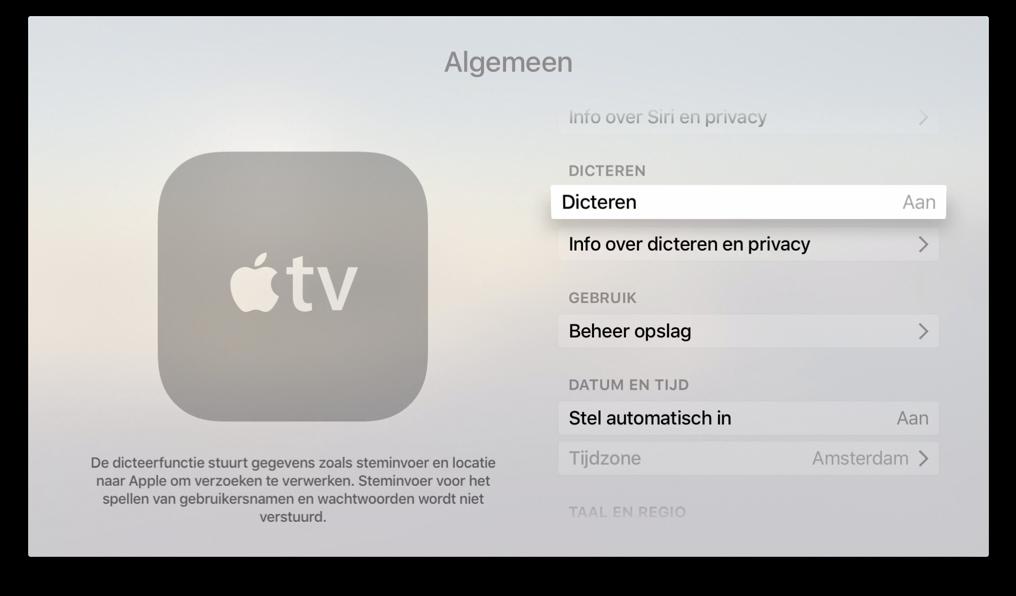 Dicteren op een Nederlandse Apple TV met tvOS 9.2.
