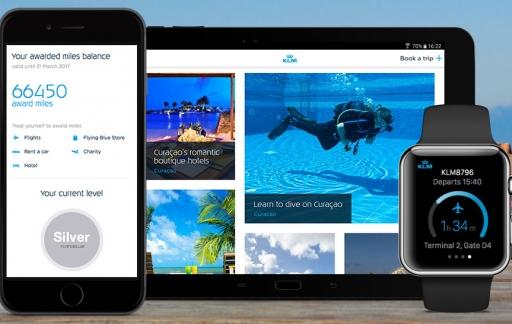 KLM-app op iPhone en Apple Watch
