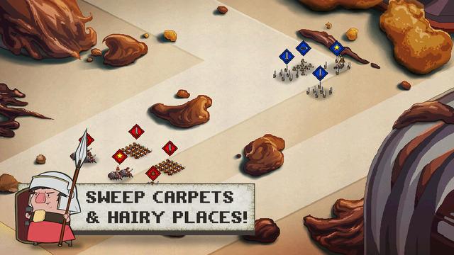 Romans In My Carpet is een strategiegame met een leuk uiterlijk.