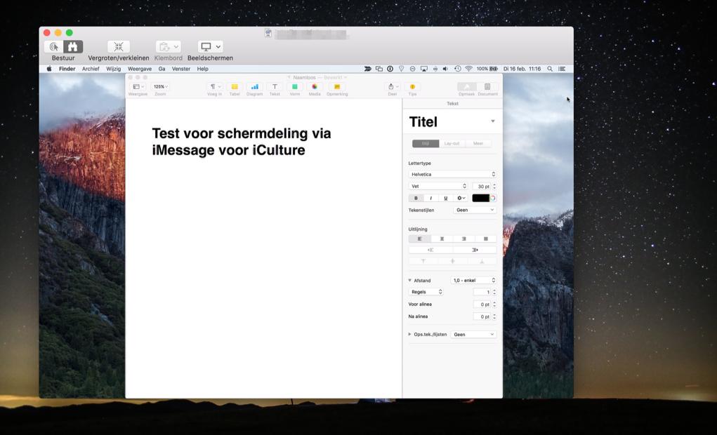 Schermdeling bekijken via de Berichten-app op de Mac.