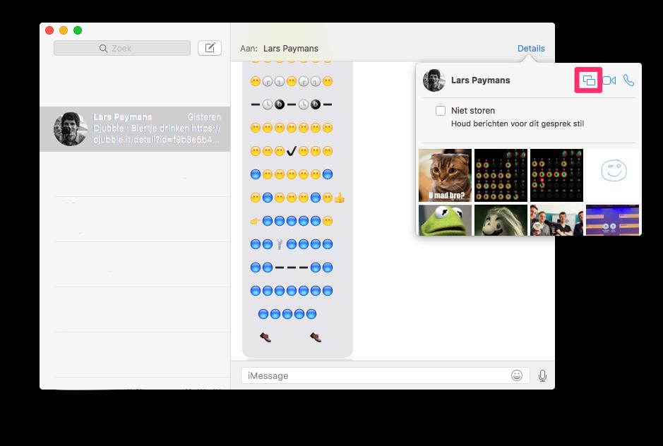 Iemand uitnodigen voor schermdeling via de Berichten-app op de Mac.