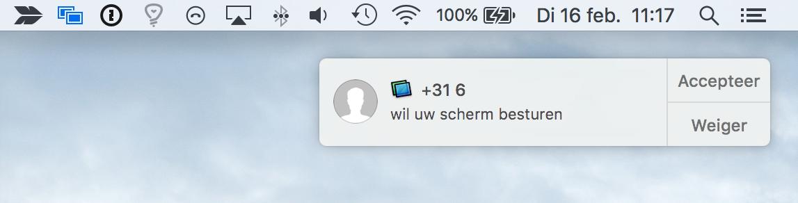Een uitnodiging voor schermdeling via de Berichten-app op de Mac.