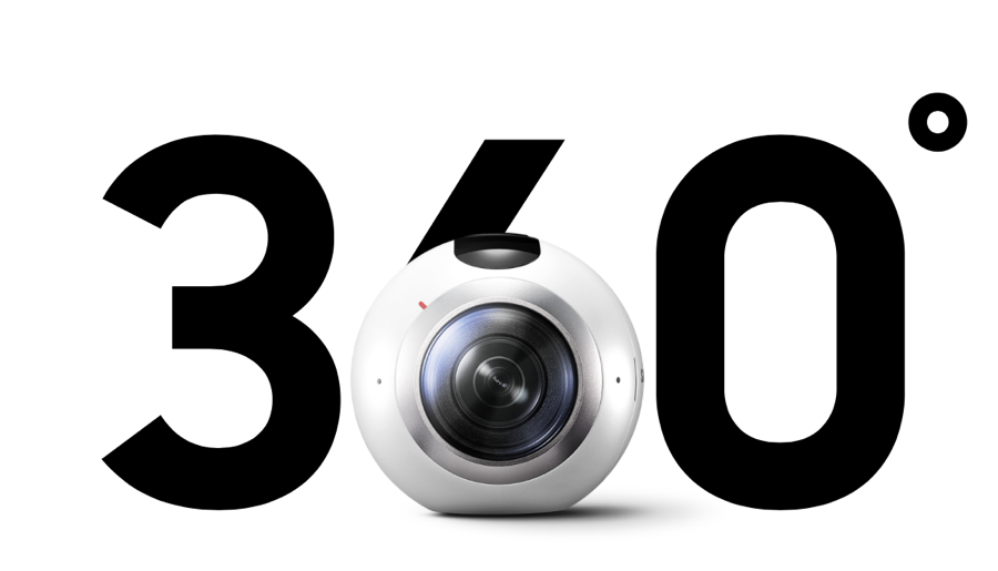 De Gear 360 camera van Samsung neemt video op in 360 graden.