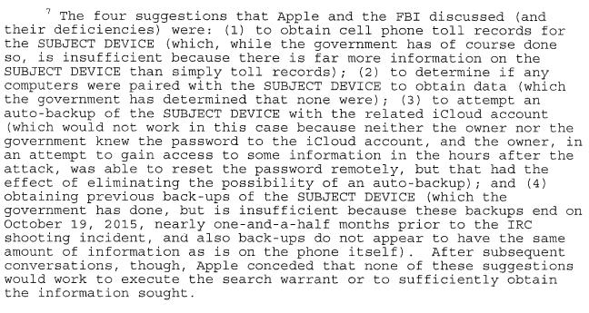 FBI-zaak: 4 opties die Apple al aanreikte