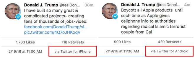 Trump tweets van Android en iPhone