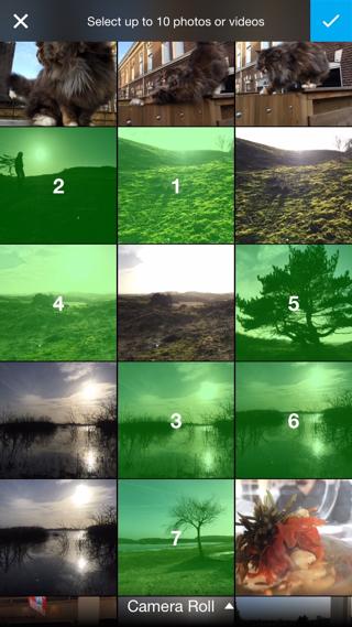 Kies maximaal tien foto's of video's voor een Showzee.