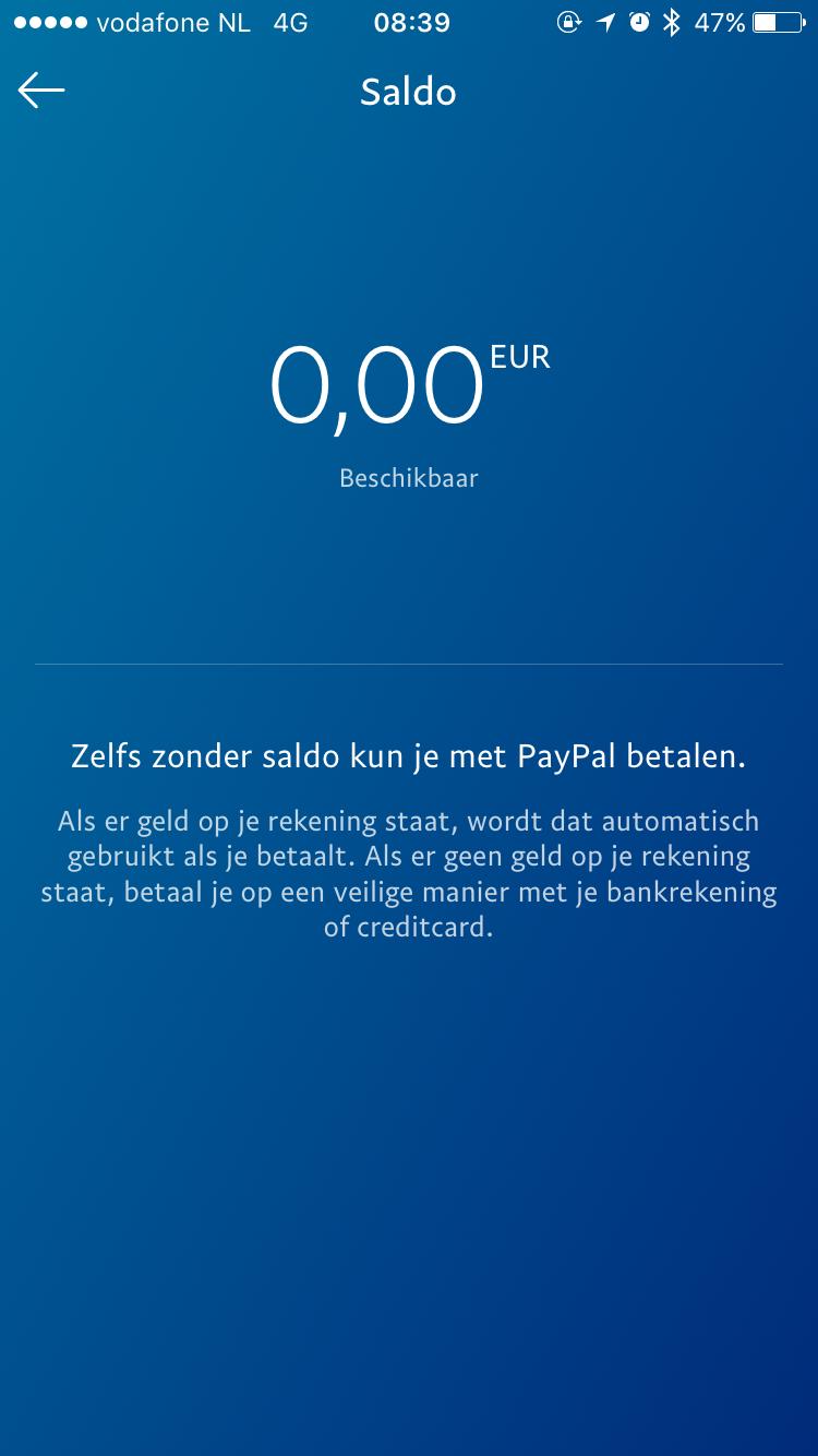 Bekijk je PayPal-saldo in de nieuwe app.