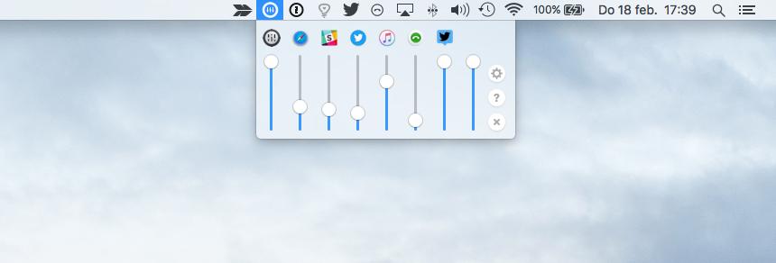 Volume Mixer voor de app met bedieningspaneel.