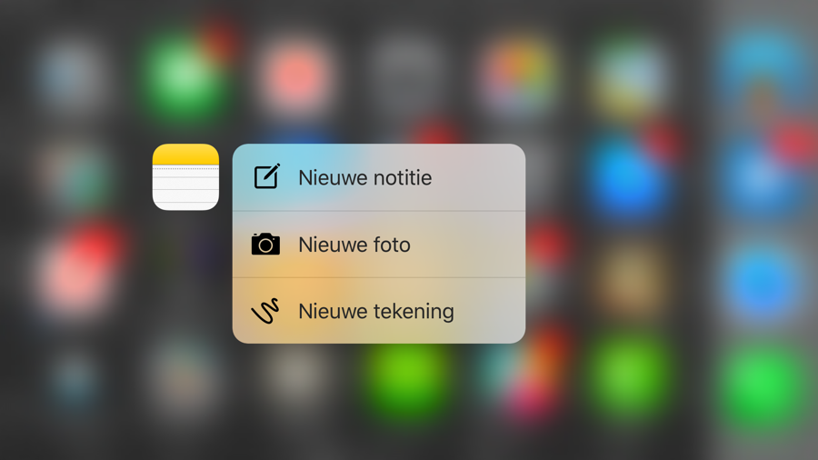 De Notities-app met Snelle Acties en 3D Touch.
