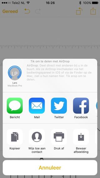 Je kunt notities ook rechtstreeks vanuit de app uitprinten.