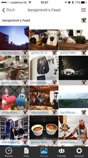 AnyCloud met Instagram-feed.
