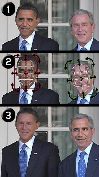 Verander gezichten handmatig met een raster in iSwap Faces.