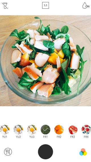 Dezelfde foto met de salade-filter van Foodie.