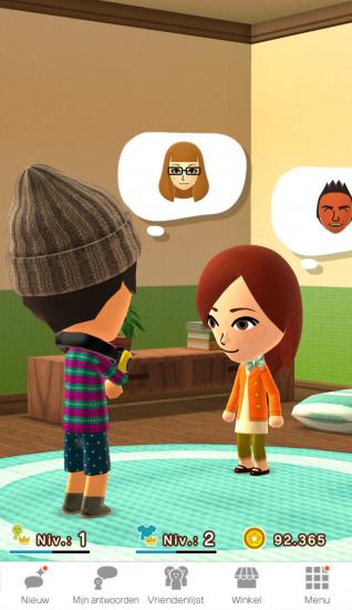 Een vriend verschijnt in Miitomo van Nintendo.